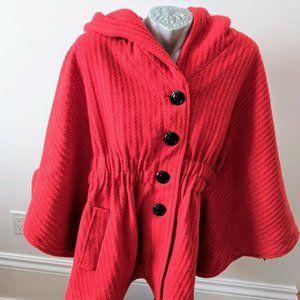 Steve Madden Cape Jacket Hood Size XL Orange